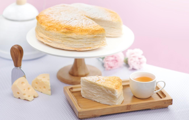 Фото обои чай, сыр, пирог, выпечка