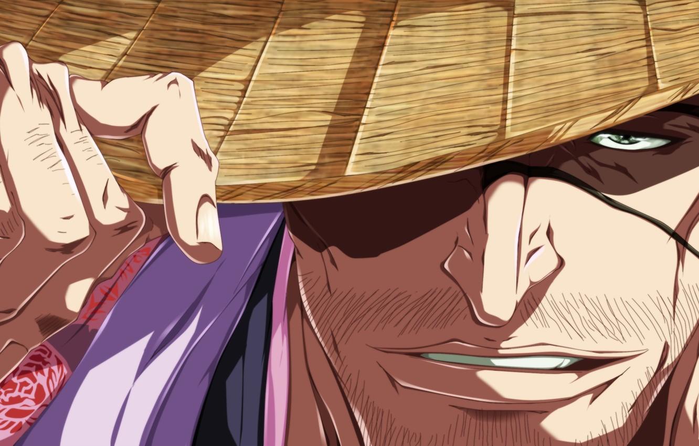 Фото обои game, bleach, hat, anime, man, face, captain, eye, asian, hand, manga, japanese, kimono, oriental, asiatic, …
