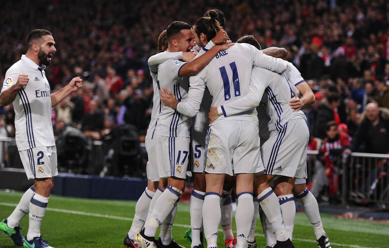 Фото обои футбол, победа, спорт, команда, team, празднование, Реал Мадрид, footbal, Real Madrid CF, Реал Мадрид-Атлетико