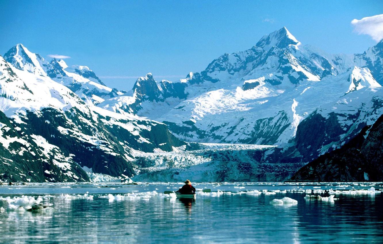 Фото обои горы, озеро, лодка, человек, Аляска, весло