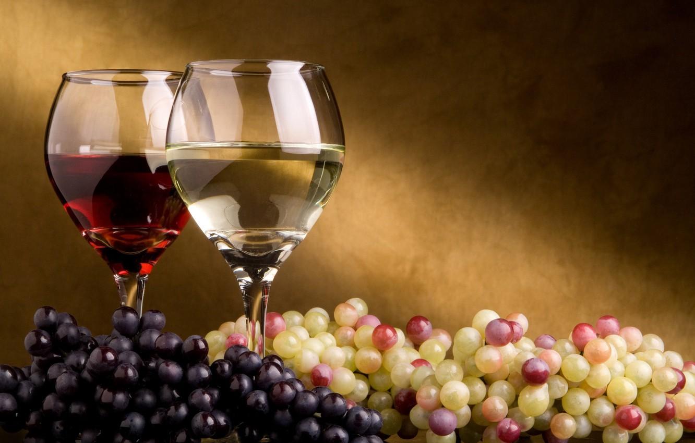 Обои Бутылки, кисть, орех, гроздь, виноград, бокалы, вино. Еда foto 10