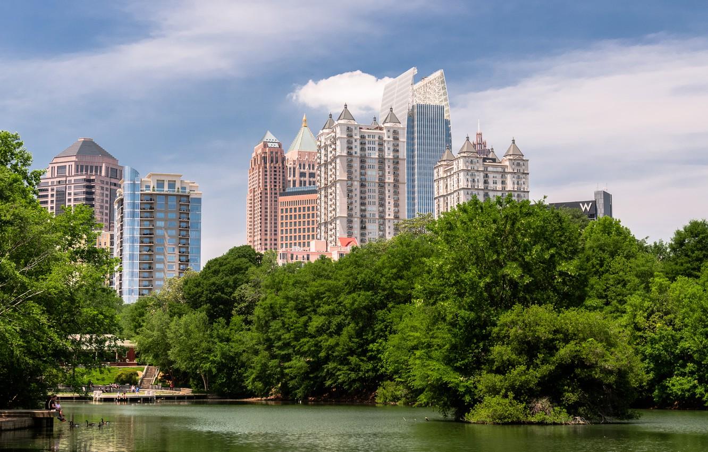 Фото обои деревья, озеро, парк, USA, trees, Park, lake, Georgia, Midtown, Piedmont, Атланта, Джордия, Atlanta