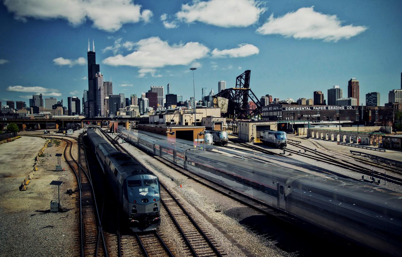 Обои ж/д дорога, небоскребы, chicago, чикаго. Города foto 7