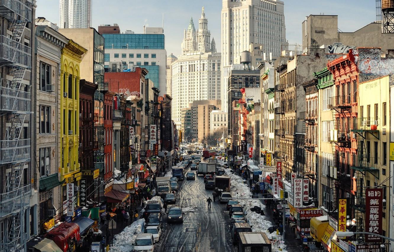 Фото обои нью-йорк, New York City, East Broadway, Chinatown