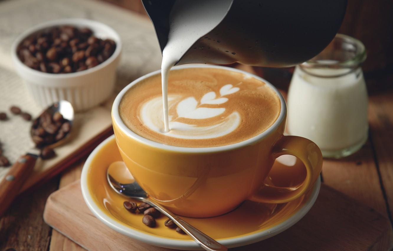 Фото обои кофе, сливки, пенка