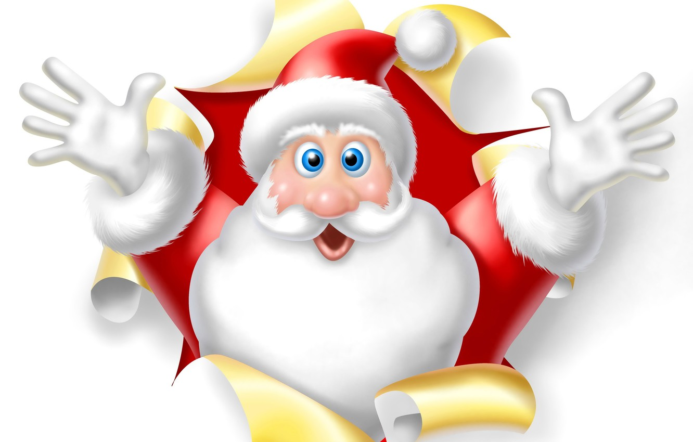 Фото обои новый год, белый фон, Санта Клаус, Дед мороз, 2015