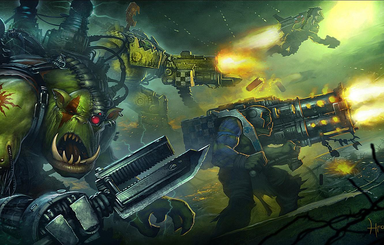 Фото обои Warhammer 40000, Warhammer 40k, orcs, Eternal Crusade, ксеносы