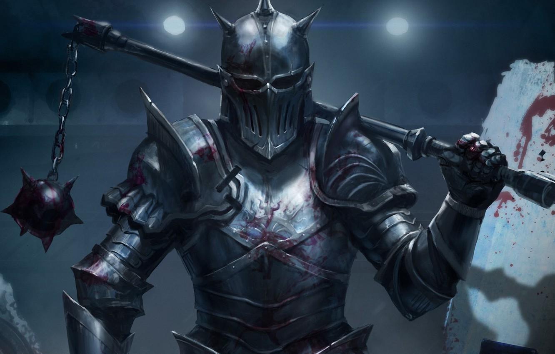 Фото обои оружие, кровь, воин, арт, мужчина, рыцарь, доспех, цеп