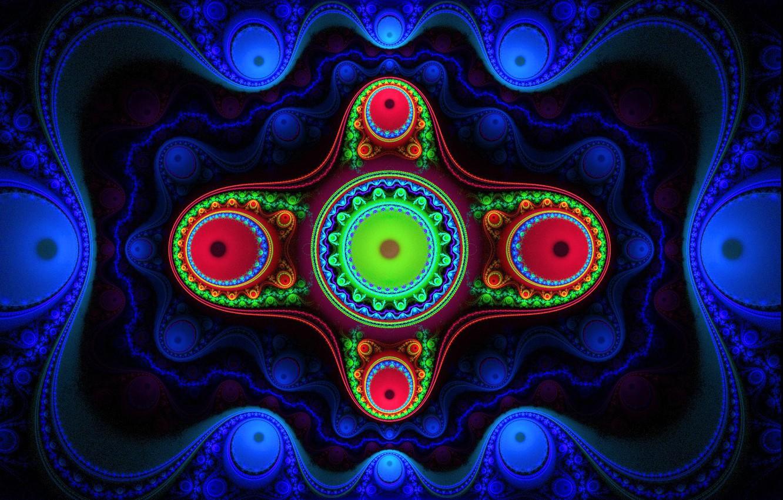 Фото обои свет, узор, цвет, фрактал, полумрак, симметрия