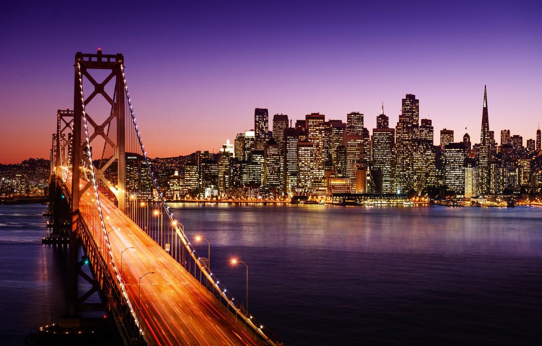 Фото обои дорога, вода, ночь, мост, город, огни, пролив, здания, дома, небоскребы, выдержка, освещение, фонари, Калифорния, Сан-Франциско, …