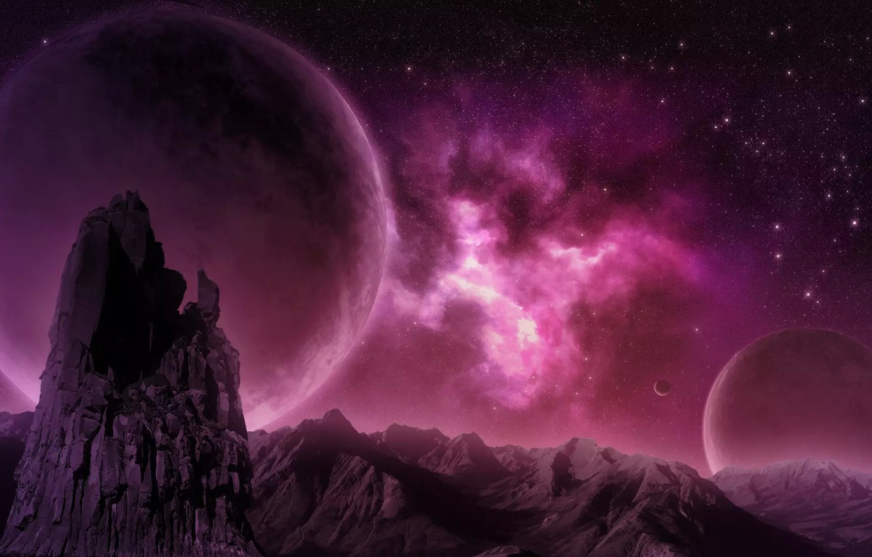 Фото обои горы, туманность, скалы, планета, nebula, pink, planet