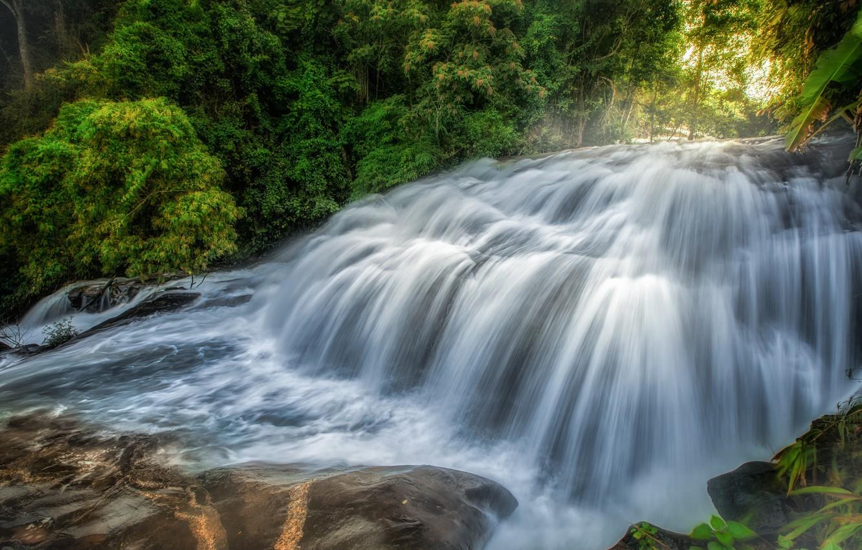 Фото обои вода, камни, водопад, мох, поток
