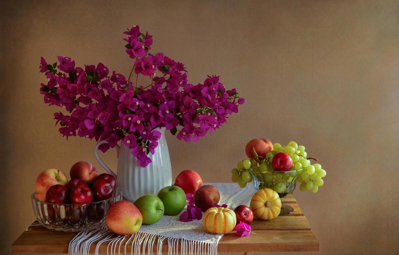 Обои фрукты, натюрморт, кубок, яблоки, цветы. Разное foto 15