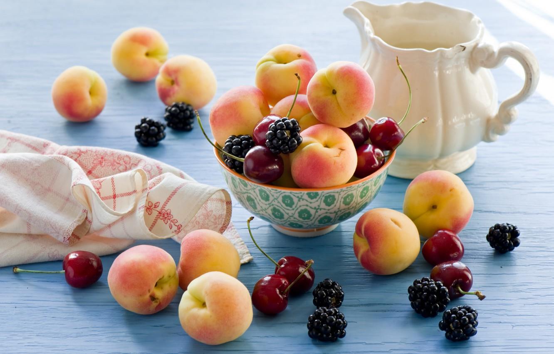 Фото обои черешня, food, ежевика, cherry, абрикосы, blackberry, apricots, Anna Verdina