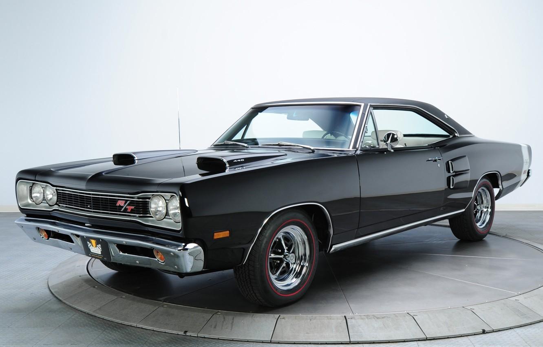 Фото обои фон, чёрный, Додж, 1969, Dodge, передок, Coronet, Muscle car, Magnum, Мускул кар, R T, 440, …