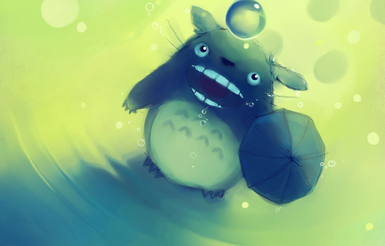 Фото обои настроение, животное, обои, рисунок, зонт, шарик, аниме, Арт, Apofiss, слюни, totoro no rain, тоторо, веселое, …