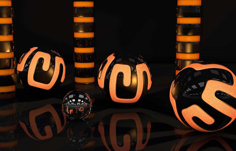 Фото обои поверхность, свет, оранжевый, отражение, шары, узор, неон, арт, глянец, сфера, цилиндры