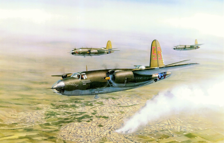 Фото обои war, art, airplane, painting, aviation, ww2, Martin B-26 Marauder, bomberr
