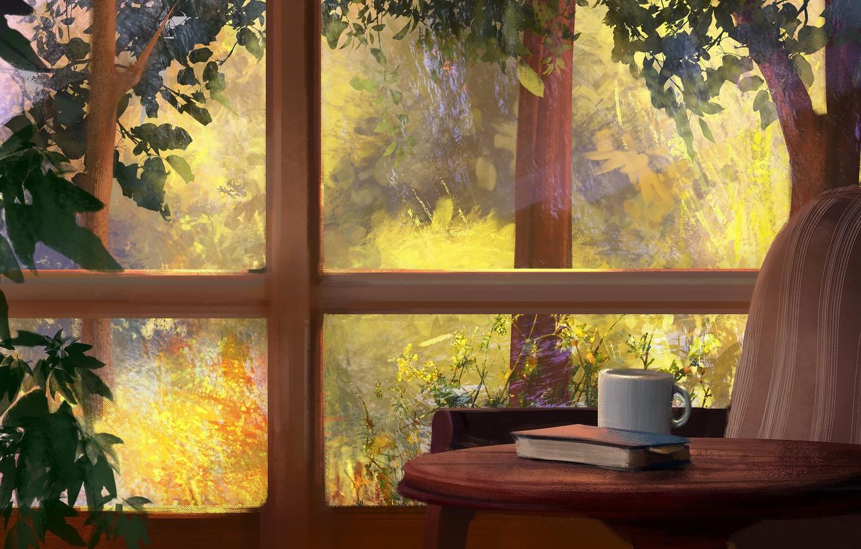 Обои Пальма, стул, очки, книга. Разное foto 10
