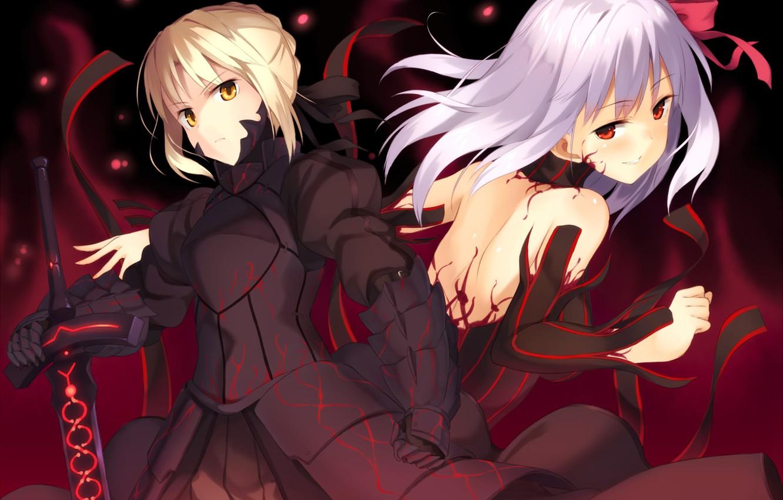 Фото обои оружие, девушки, меч, аниме, арт, fate stay night, dark saber, distortion, dark matou sakura, kinta