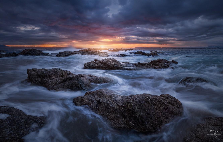 Фото обои море, волны, природа, камни, вечер, потоки