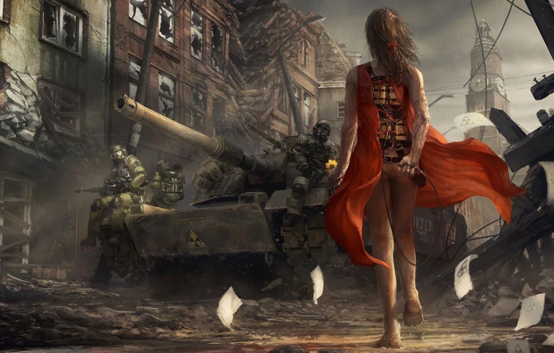 Фото обои девушка, солдаты, танк, инфекция, вирус, красное платье
