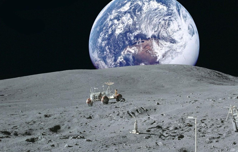 Фото обои космос, земля, обои, луна, планета, NASA, лунный автомобиль, вид земли с луны