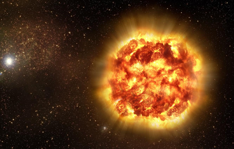 Фото обои космос, лучи, взрыв, звезда