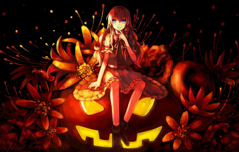 Фото обои девушка, цветы, праздник, аниме, арт, тыква, halloween, touhou, kirisame marisa, dead line