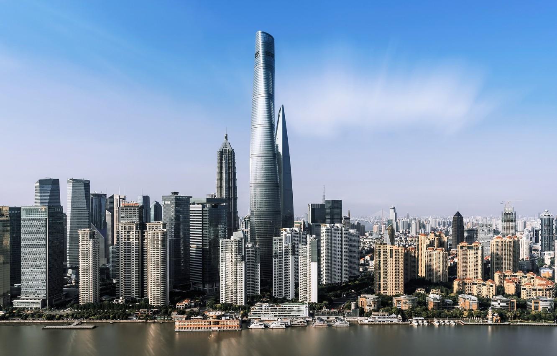 Фото обои город, здания, небоскребы, Китай, Шанхай