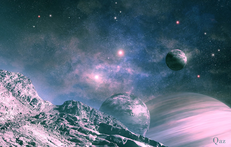 Фото обои космос, ландшафт, планеты, спутник, арт, QAuZ