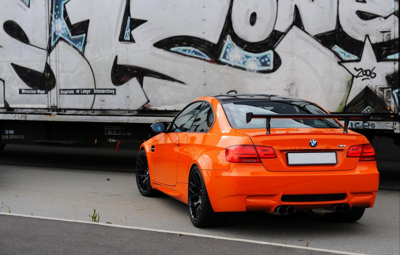 Фото обои Авто, BMW, Бумер, БМВ, Оранжевый, Граффити, GTS, Купэ, CSL, Спойлер