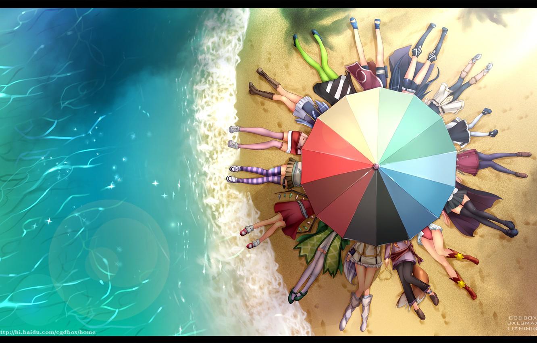 Фото обои пляж, вода, зонт, beach, k-on!, asu no yoichi, haruno, kuroi mato, nagi, crossover, ureshiko asaba, …