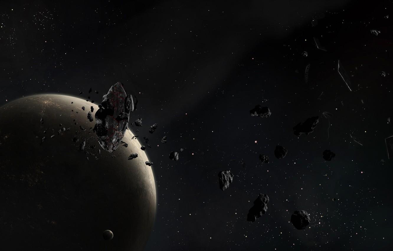 Фото обои обломки, звезды, луна, планета, астероиды