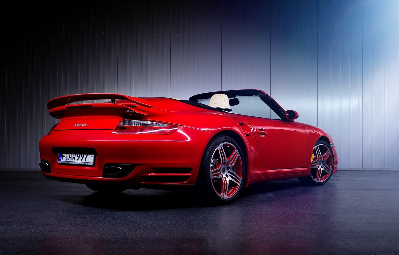 Фото обои 997, Porsche, Red, Car, Turbo, Sport, Cabrio, Rear