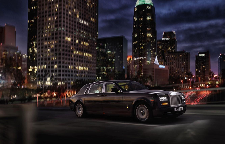 Фото обои ночь, город, Rolls-Royce, лимузин