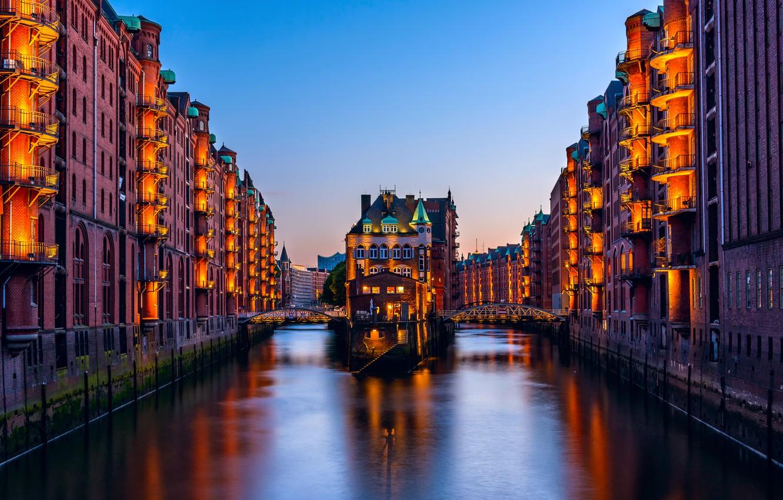 Обои ночной город, германия, каналы, гамбург, speicherstadt, здания, Hamburg, шпайхерштадт, мосты, Germany. Города foto 17