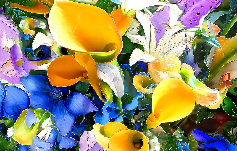 Фото обои листья, линии, цветы, рендеринг, краски