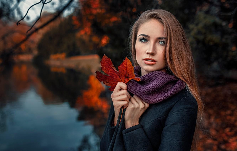Фото обои осень, девушка, природа, лист, портрет, Damian Piórko