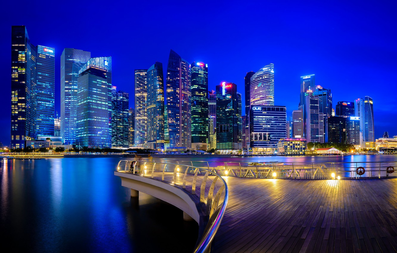 Фото обои здания, Сингапур, ночной город, небоскрёбы, Singapore