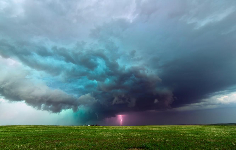 Фото обои тучи, шторм, молния, поля, Колорадо, США, ферма, равнины