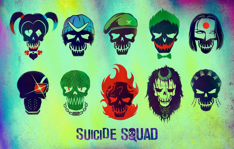 Фото обои Slipknot, Joker, Diablo, Katana, Deadshot, Harley Quinn, Killer Croc, Boomerang, Enchantress, Suicide Squad, Rick Flag