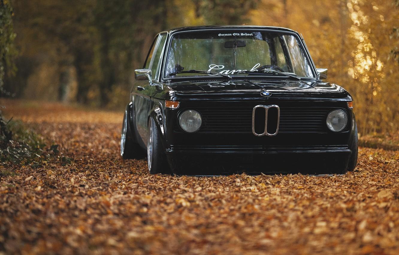 Фото обои осень, листва, BMW, black, oldschool