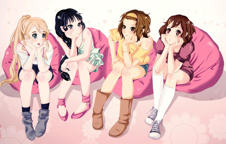 Фото обои группа, аниме, девочка, друзья, akiyama mio, k-on, подруги, tainaka ritsu, hirasawa yui, kotobuki tsumugi