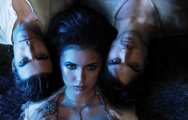 Фото обои Nina Dobrev, Нина Добрев, The Vampire Diaries, Дневники вампира, Ian Somerhalder, Иен Сомерхолдер, Пол Уэсли, …