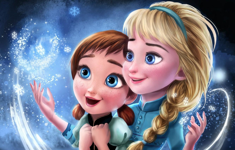 Фото обои Frozen, Disney, Анна, Anna, Princess, Мультфильм, Elsa, Эльза, Snow Queen, Холодное сердце, Сёстры, Sisters, Принцессы