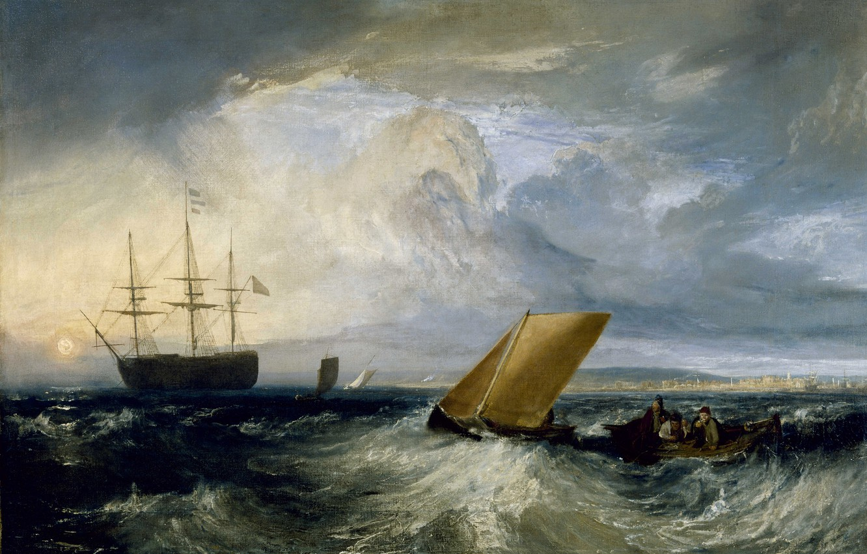 Фото обои море, шторм, лодка, корабль, картина, парус, морской пейзаж, Уильям Тёрнер, Sheerness as seen from the …