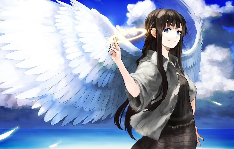 Фото обои море, девушка, облака, крылья, ангел, арт, нимб, chirigami-san