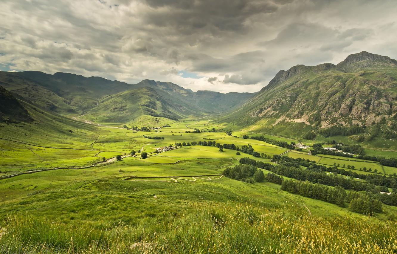 Обои дома, долина, тучи. Пейзажи foto 6