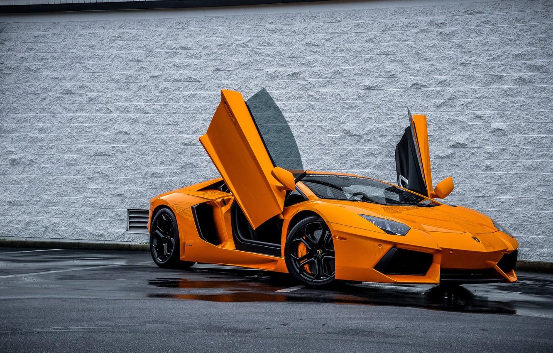 Фото обои Lamborghini, Ламборджини, Оранжевый, Orange, Двери, Суперкар, LP700-4, Aventador, Авентадор, Supercar